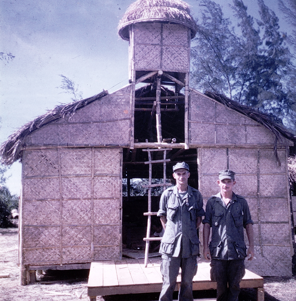 Capodanno and one of his grunts standing in front of the Chu Lai chapel built by 1st Battalion, 7th Marines