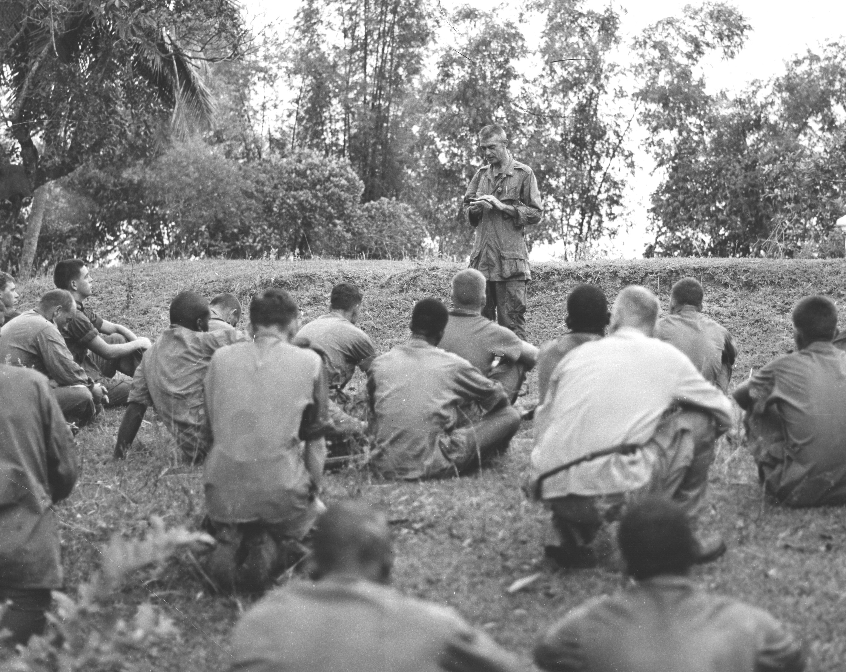 Capodanno leading prayer for Marines of the 1st Battalion, 7th Marines in the Muo Douc area